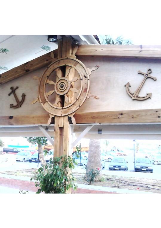 Σέτ διακοσμητικά τοίχου σε Ξύλο σκαλιστά άγκυρες και τιμόνι πλοίου