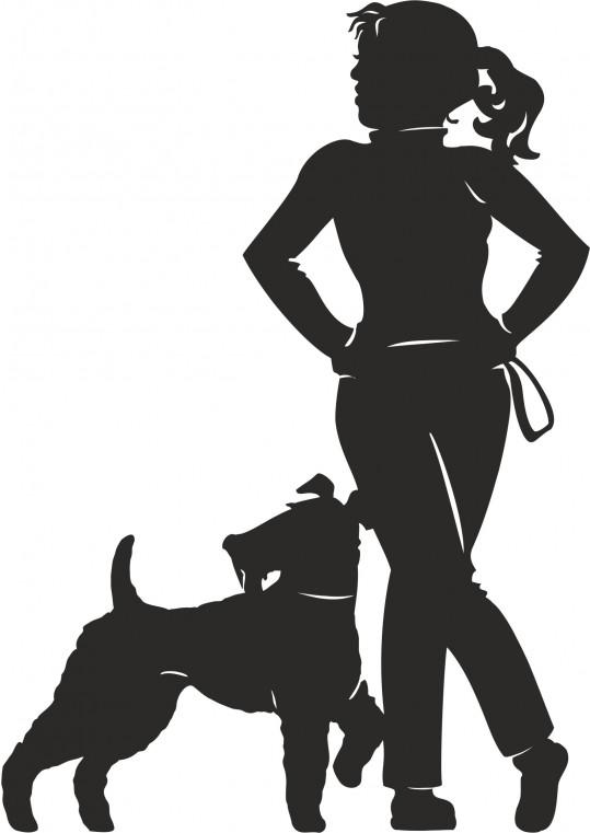 Αυτοκολλητο τοιχου κοπέλα με σκυλάκι