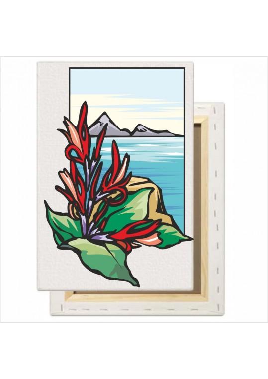 Όμορφο τοπίο με λουλούδια και  απαλά χρώματα